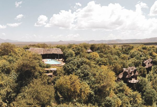 View of Il Ngwesi lodge from the air