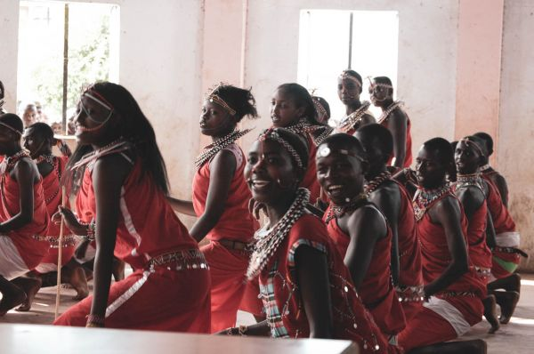 School dance competition in traditional Maasai dress